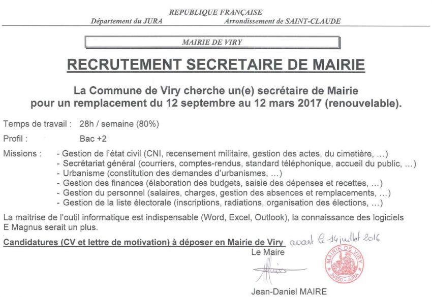 offre d emploi secr 233 taire de mairie candidatures requises avant le 14 juillet viry site